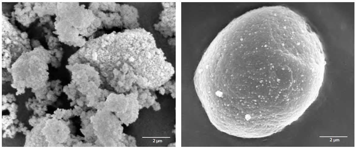 SEM images of SIPERNAT 320DS and it's coverage of corn starch to improve flow